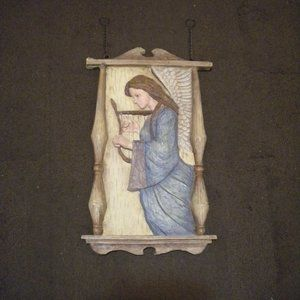 Vintage Large Angel With Harp Wall Hanging